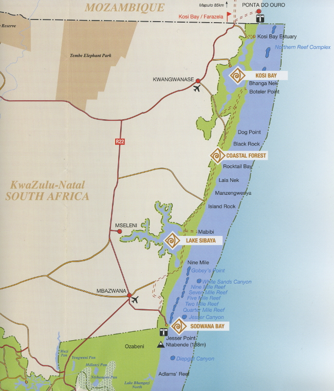 Map and Directions to Sodwana Bay Lodge House 45
